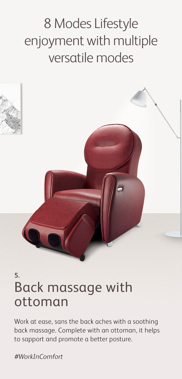 Udiva2 Massage Chair Mode 5 Back Massage Ottoman M